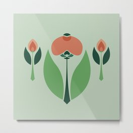 Nouveau Chrysanth Rose Metal Print