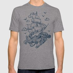 I'm moving in the raging waves Mens Fitted Tee Tri-Grey MEDIUM