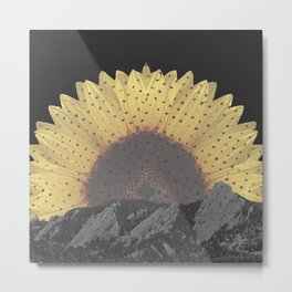 Boulder Colorado Flatirons Sunflower Decor \\ Chautauqua Park Floral Yellow Nature Bohemian Style Metal Print