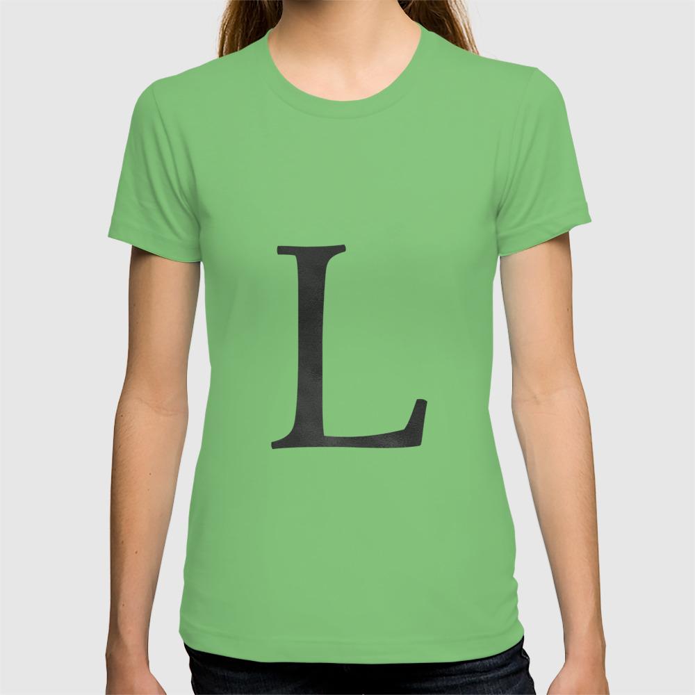 4fb6f3c36da Letter L Initial Monogram Black and White T-shirt