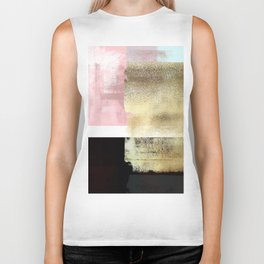 Minimal Abstract Soft Pink Landscape with Gold Biker Tank