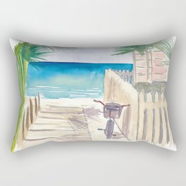 A Day At The Beach with Bike Rectangular Pillow