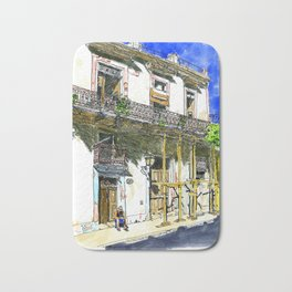 Man Sitting in Front of His House, Habana Vieja, Cuba Bath Mat