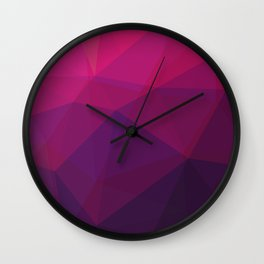 Magenta Polygonal Art Wall Clock