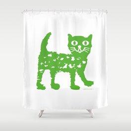 Green cat design, green cat pattern Shower Curtain