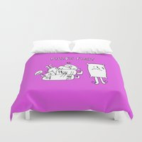 fight Duvet Covers featuring Pillow fight by andy_panda_