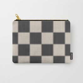 Traditional Checkerboard, Ecru-Beige and Chocolate-Deep Brown Carry-All Pouch