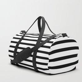 Black And White Stripes Breton Nautical Minimalist Duffle Bag