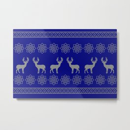 Reindeer Stripes Christmas pattern - blue Metal Print