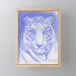 Blue Tiger Watercolor Framed Mini Art Print