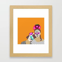 Sugar Skull Halloween Girls Orange Framed Art Print