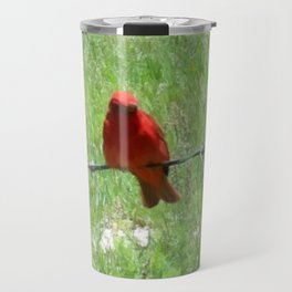 Red Summer Tanager on Barbed Wire Fence Travel Mug