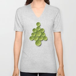 Christmas tree made with green buttons, isolated on white background Unisex V-Neck