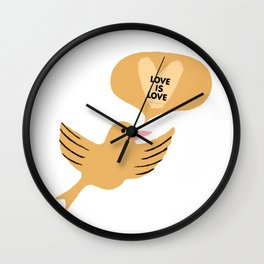 "yellow ""love is love"" cutesy vday bird Wall Clock"