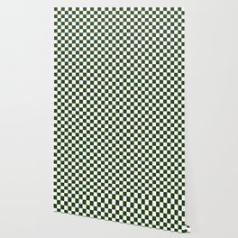 Large Dark Forest Green and White Check Squares Wallpaper