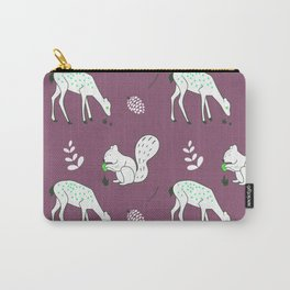 Wildlife - Happy Forest Animals Muted Berry Carry-All Pouch