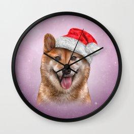 Japanese Shiba Inu dog in red hat of Santa Claus Wall Clock