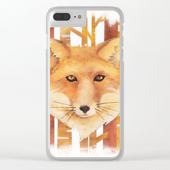 Fox in the forest- Animal abstract watercolor illustration on #Society6 Clear iPhone Case