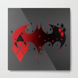 Bat Logo Harlequinn Metal Print