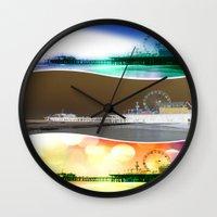 santa monica Wall Clocks featuring Santa Monica Pier Tricolor by Christine aka stine1