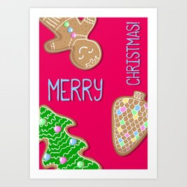 Merry Christmas Pink Poster with Gingerbread Cookies Art Print