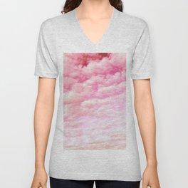 Cotton Candy Sky Soft Pink Unisex V-Neck