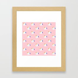 Kawaii rainbow fattycorn pattern Framed Art Print