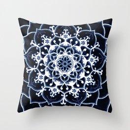 Indigo Glowing Spirit Blue & White Flower Mandala Throw Pillow
