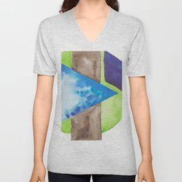 180819 Geometrical Watercolour 8| Colorful Abstract | Modern Watercolor Art Unisex V-Neck