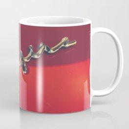 Triumph spitfire, chromed logo, macro photo, supercar details, red auto Coffee Mug