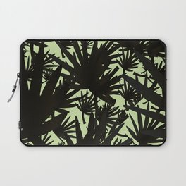 Modern black green abstract tropical leaves Laptop Sleeve