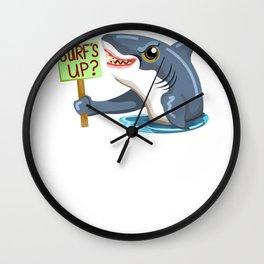 Funny Shark Cartoon Surfs Up Shark Wall Clock