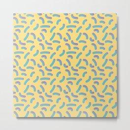 Memphis Style Yellow 3D Confetti Metal Print