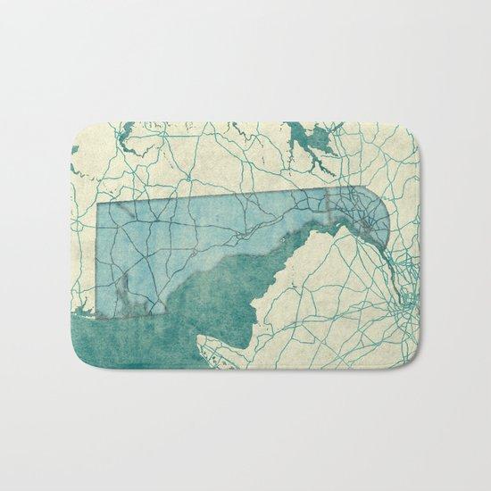 Delaware State Map Blue Vintage Bath Mat