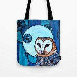 Barn Owl Art Nouveau Panel in blue Tote Bag