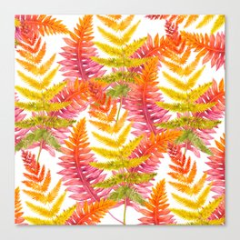 Hand painted pink orange watercolor fall fern floral Canvas Print