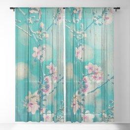 Sweet Flowers on Wood 01 Sheer Curtain