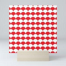 Red Fan Shell Pattern Mini Art Print
