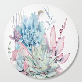 Pretty Pastel Succulents Cutting Board