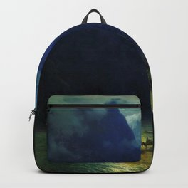 Twilight Blue in the Darial Gorge horsepack river crossing landscape painting by Ivan Aivazovsky Backpack
