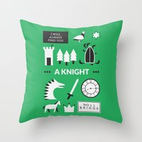 ouat Throw Pillows featuring OUAT - A Knight by Redel Bautista