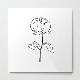 6-2027-0, Black & White, Floral Botanical Flower art, Plant Leaves, Boho decor, Metal Print