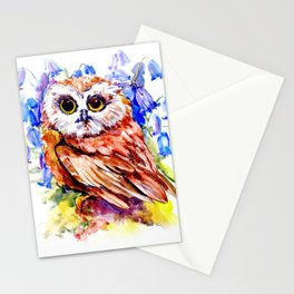 Owl Who Loves Bluebell Flowers, Owl art, Bright colored Owl design Stationery Cards