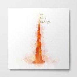 Burj Khalifa, Dubai, Emirates in WaterColor Red Metal Print