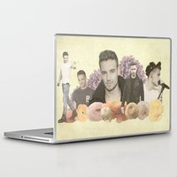 liam payne Laptop & iPad Skins featuring Liam Payne + Flowers by Ladsandstuff