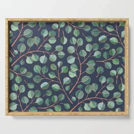 Simple Silver Dollar Eucalyptus Leaves on Navy Serving Tray