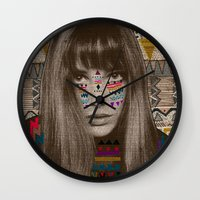 jane eyre Wall Clocks featuring JANE by Kris Tate