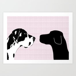 Great Dane and Black Labrador Dogs Art Print