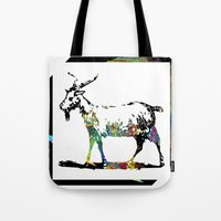 goat Tote Bags featuring Goat by LoRo  Art & Pictures