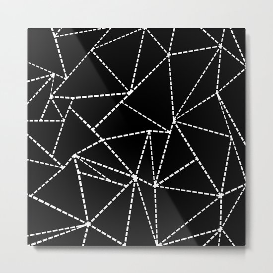 Abstract Dotted Lines White on Black Metal Print